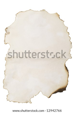 old burnt paper isolated on white with copyspace for your image or text