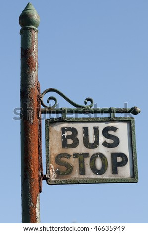 Old bus stop - stock photo
