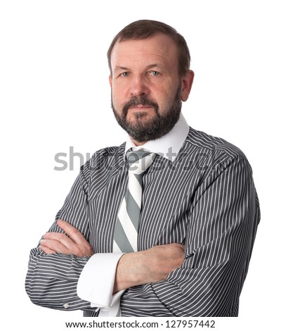 old business man isolated over white background - stock photo