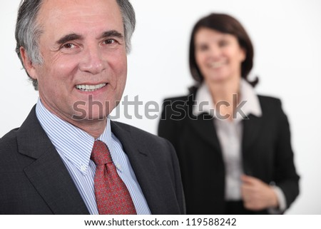 old businessman smiling - stock photo