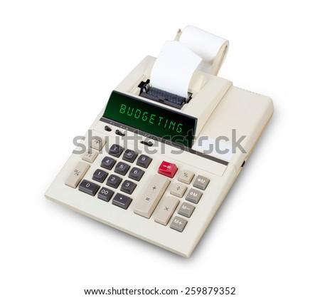 Old calculator showing a text on display - budgeting - stock photo