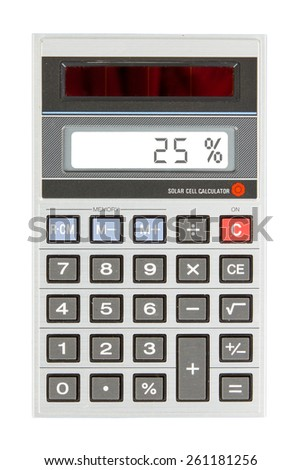 Old calculator with digital display showing a percentage - 25 percent - stock photo