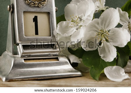 Old calendar and bird cherry branch on the wooden table - stock photo