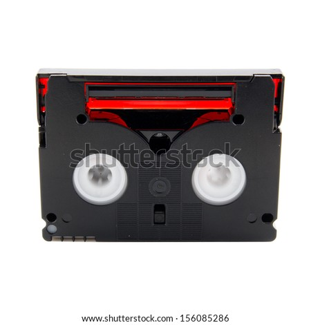 old camcorder tape on a white background