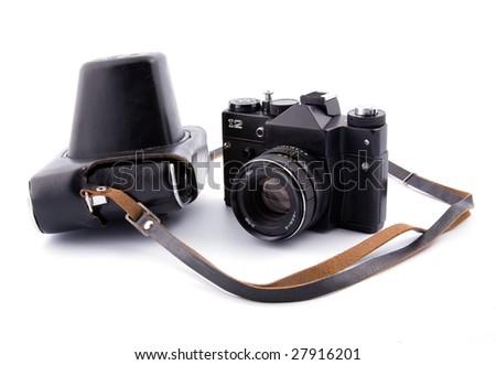 Old Camera and camera holder - stock photo