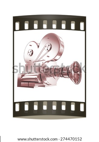 Old camera. 3d render. The film strip - stock photo