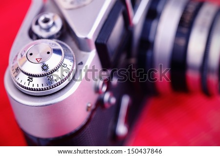 old camera. Detail of the hull. close-up photo - stock photo