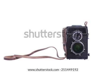 Old camera isolated on white - stock photo