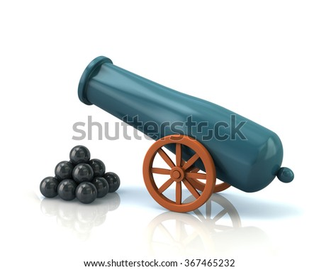 Old cannon and black bombs isolated on white background - stock photo