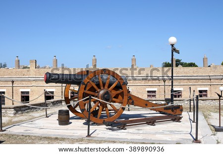 old cannon Corfu town  - stock photo