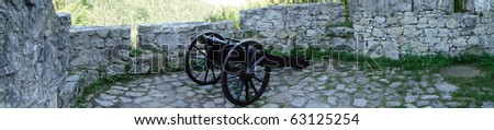old cannon gun in the castle - stock photo