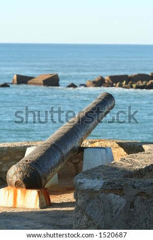 Old cannon in Ericeira - Portugal. - stock photo