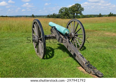 Old cannon in Manassas National Battlefield Park, Virginia. - stock photo