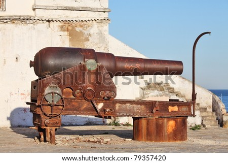 Old cannon in Tanger, Morocco - stock photo