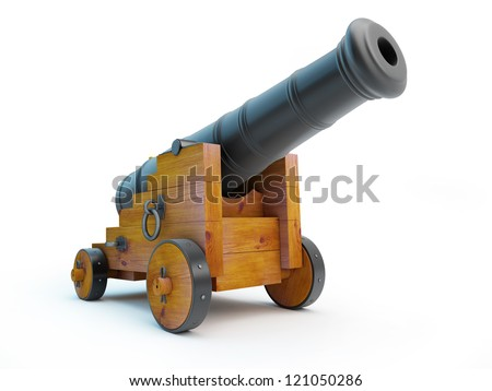 Old cannon on a white background - stock photo