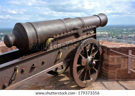 old cannon on the wall of Mehrangarh Fort, Jodhpur, Rajasthan, India - stock photo