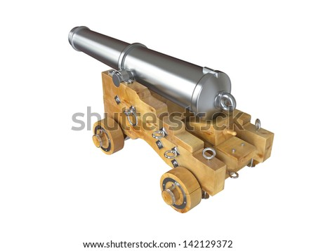 Old cannon on white background . 3D image - stock photo