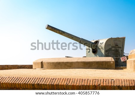 old cannons at montjuic castle, barcelona, spain - stock photo