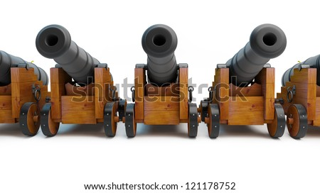 Old cannons on a white background - stock photo