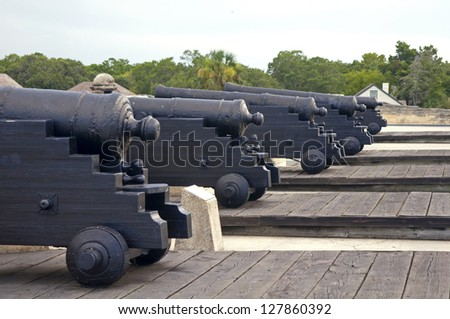Old canons aiming at the sea, on an overcast day. Old Castillo de San Marcos, St. Augustine, Florida - stock photo