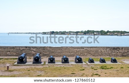 Old canons lined up in front of the bay aiming at the sea. Castillo de San Marcos, St. Augustine, Florida. 16th Century - stock photo