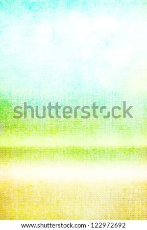 Old canvas: Abstract textured background with green, blue, and yellow patterns on white backdrop. For art texture, grunge design, and vintage paper / border frame - stock photo