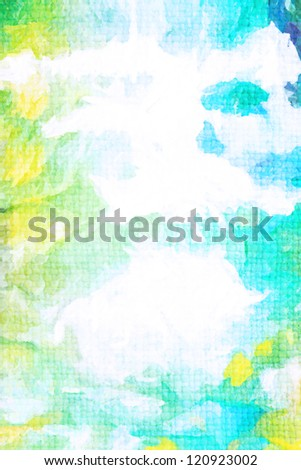 Old canvas: abstract textured sky-like background with blue, yellow, green, and white patterns. For art texture, grunge design, and vintage paper / border frame - stock photo
