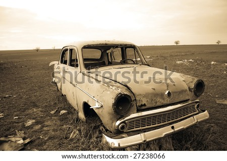 Old car at field 2 - stock photo