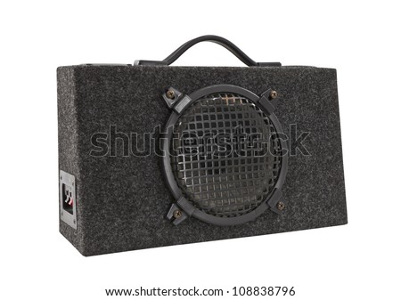 Old car audio boom box woofer isolated with clipping path. - stock photo