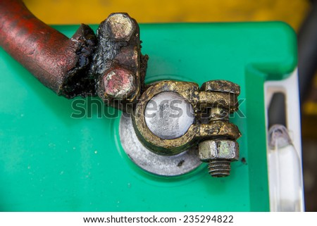 Old Car Battery terminal  - stock photo
