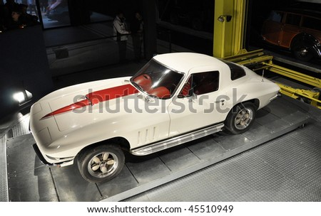 Old car in the garage - stock photo