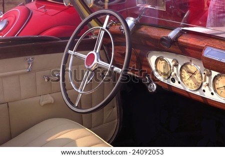 Old car interior. - stock photo