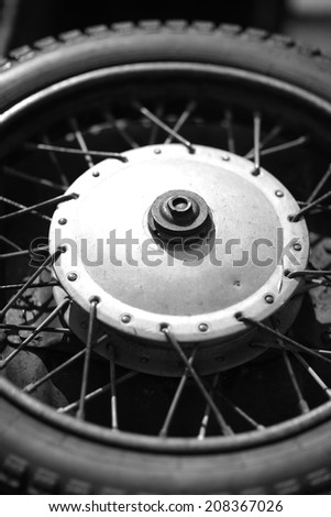Old car's wheel structure background