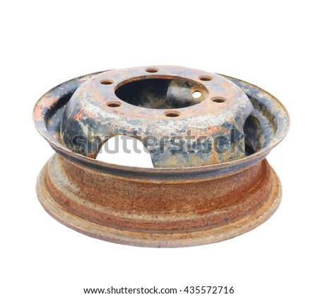 old car wheel, rusty car alloy rim isolated on white background - stock photo