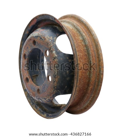 old car wheel, rusty car metal rim isolated on white background - stock photo
