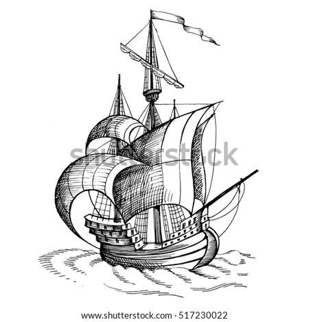 Vintage Sailboat Sketch Antique Viking ...