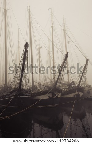 Old cargo boats are now tourist attractions - stock photo