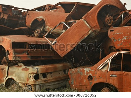 Old cars on junkyard