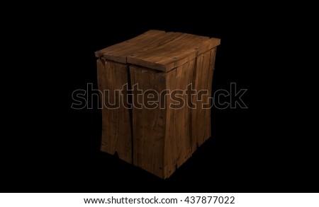 old cartoon wooden box 3d illustration - stock photo