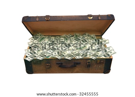 old case full of one hundred dollar bills.isolated with clipping path - stock photo