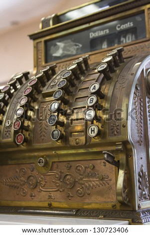 Old cash register close-up.