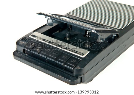 old Cassette Tape player and recorder  on a white background. - stock photo