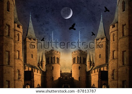 old castle at night with moon and birds