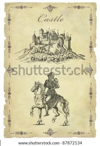 Old castle illustration - stock photo