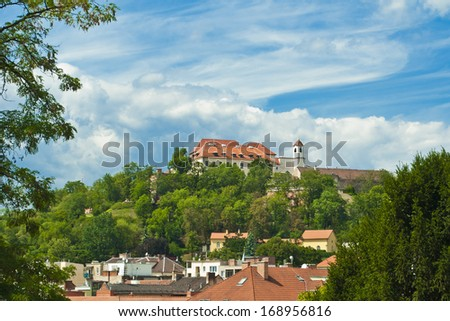 old castle in big city - stock photo
