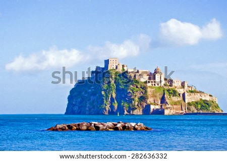 old castle of the aragons, ischia island, italy  - illustration based on own photo image - stock photo