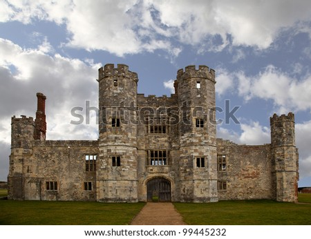 Old castle ruin in England with cloudy sky - stock photo
