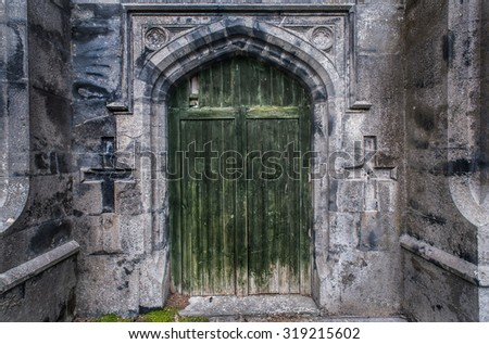 old castle ruins door grunge background