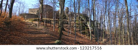 Old castle ruins in Poland - panoramic view - stock photo
