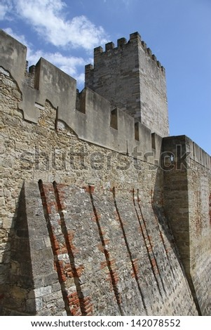 Old castle St George in Lisbon, Portugal - stock photo